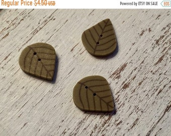 """SALE Leaf Buttons, """"Olive Leaf"""" Handmade Buttons by JABC, Set of 3 Buttons, Sewing, Cross Stitch, Quilting, Embellishments"""