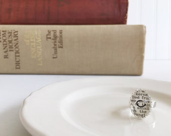 adjustable {c} vintage dictionary initial ring