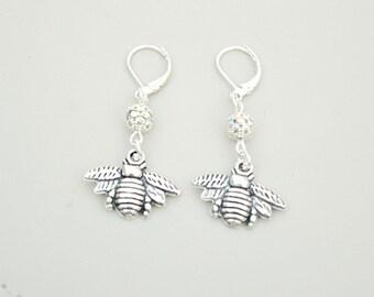 Bee earrings, Bee Charm Earrings, Bee Jewelry,  Drop earrings, Bumble Bee  Gift, Bee lover gift, Bee Charm, Insect, Honey, Beekeeper gift