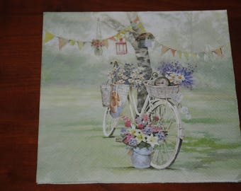 "paper towel theme home deco ""bike flowers"""