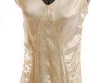 Original 1930s Cream Satin,V Neck, Sleeveless Wedding Gown. Size 6 - Item #309, Wedding Apparel