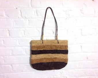 1970s vintage brown and beige straw shoulder bag handbag - Seventies Boho Bohemian Summer