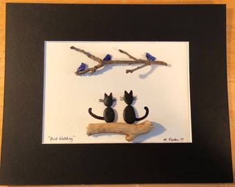 "Adorable Perfect gift for  Mothers Day ""Bird Watching"" Cat handcrafted Pebble Art"