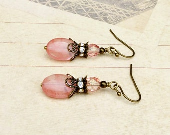 Pink Earrings, Victorian Earrings, Light Pink Earrings, Pale Pink Earrings, Vintage Look Earrings, Czech Glass Beads, Unique Earrings, Gifts