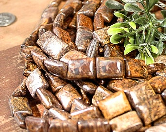 "Golden Brown Rectangular 15mm Bronzite Gemstone Beads 15"" Strand 894"