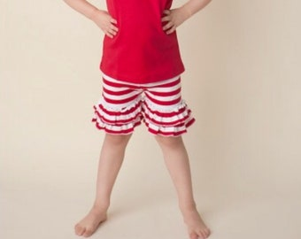 Girls red and white striped ruffle shorts