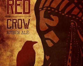 Crow Ale Metal Sign, Bar, Pub, Man Cave, Native American, Beer   MEM1001
