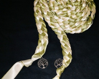 Sage Green and Ivory Ceremony Braid- Tree of Life- 6 or 9 feet- Wedding- Braided Together- Binding- Handfasting