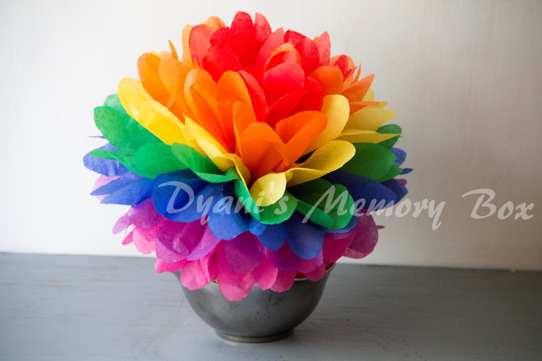 Rainbow Handmade Tissue Paper Pom Poms / paper flower /Wedding