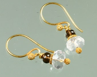 Petite Luxe Earrings - Rose Quartz - Smokey Quartz - Gold Vermeil
