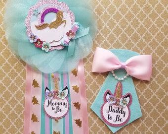Unicorn Baby Shower Corsage/ Unicorn Theme/ Unicorn Baby Shower Pin/  Unicorn Mommy To