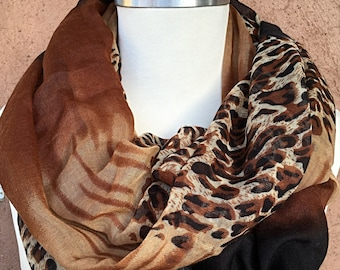 Black, Brown, Mocha and Beige Animal Print Infiniti Scarf / Fabric Scarf / Spring Summer Scarf.