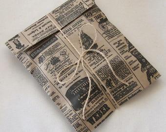 "50 Newspaper Print Kraft Bags 6 x 9"" Newsprint Vintage Style - 6 3/16 x 9 inches"
