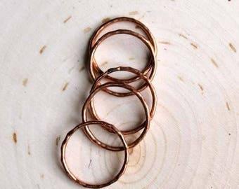 Kitana Stacking Copper Rings |  hammered copper handmade fair trade boho ring set