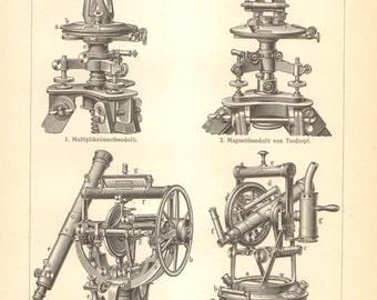 1906 Original Antique Engraving of Theodolite Instruments, Astrolabe, Breithaupt Theodolite, Tesdorpf Theodolite, Astronomical Theodolite