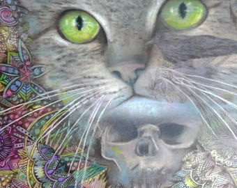 original art  16x11 drawing cat macabre spirit animal skull zentangle design wall art