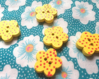 Buttons wooden flowers (x 5) - 2 holes for sewing Scrapbooking creative 1.5 cm