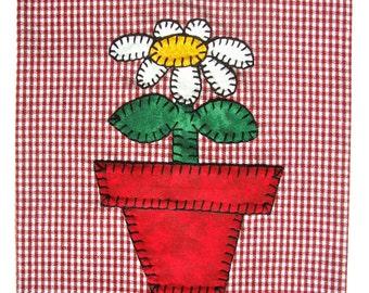 Flower Applique Kitchen Towel, Dish Towel, Hand Towel, Tea Towel