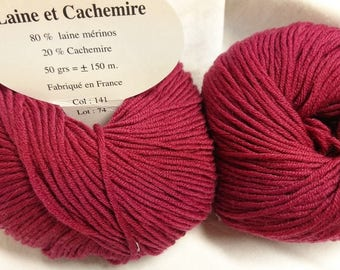 5 balls cashmere and wool /framboise 141 / made in FRANCE