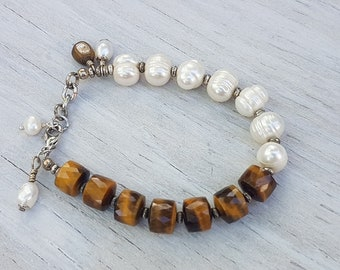Fresh Water Pearl and Faceted Tigers Eye Bracelet.    JemstoneZ Bracelet.