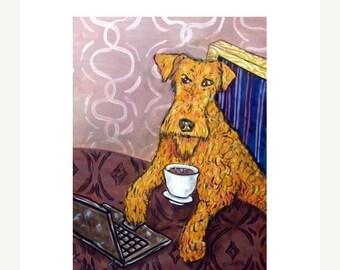 25% off Irish Terrier at the Coffee Shop Dog Art Print  JSCHMETZ modern abstract folk pop art AMERICAN ART gift