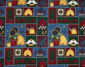 Tissu Patchwork Folk Art Américain Images encadrées thème le jardin