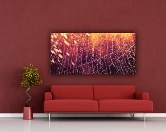 Glowing Orange Spider Web Macro Photograph, Rain Showers Panoramic Wall Art, Wide Panorama Photo Print, Magenta Cob Web Photography