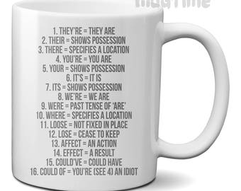 Clean English Grammar Coffee Tea Funny Mug Cup - Ceramic 330ml - Nice gift