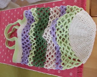 """""""Mint"""" crochet pouch for shopping and strolling"""
