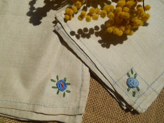 12 Victorian Off White Natural Linen Tea & Lunch Napkins Set French Hand Embroidered Unused #sophielaydeparis