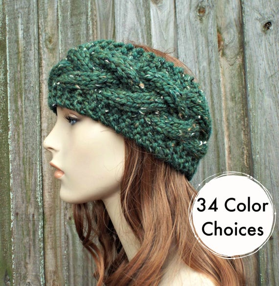 Branch Cable Headband in Tweed Green Kale - Green Headband Greed Earwarmer Womens Headband - Knit Accessories - 34 Color Choices