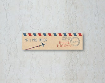 Airmail Wedding Straw/Cupcake Flag