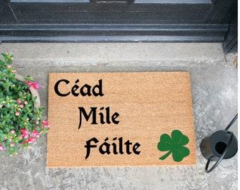 Cead Mile Failte Irish Doormat Design In Black & Green
