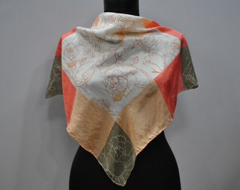 Vintage PRINTED silk scarf ...(691)