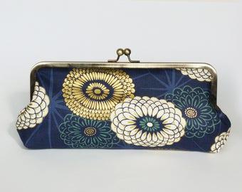 Clutch bag, Japanese cotton, indigo blue and gold chrysanthemum design, evening purse