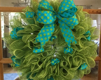 Ruffle wreath, deco mesh wreath, spring wreath, summer wreath