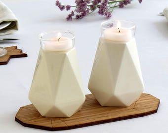 Mother's day gift, Shabbat candlesticks, Geometric candlesticks, Modern Judaica, Ceramic candle holders, Bat Mitzvah gift, Handmad in Israel