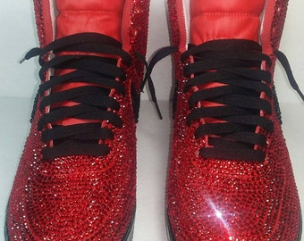 Air Force Ones, Custom Air Force Ones, Crystal Air Force 1s, Red Air Force Ones,Swarovski Air Force Ones,Customized Shoes,Shoes, Bling Shoes
