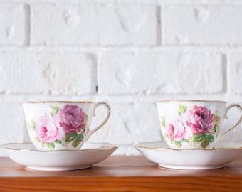 American Beauty Royal Albert Bone China Teacups and Saucers
