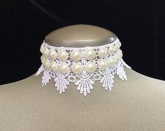 Pearl choker, pearl collar, pearl collar necklace, bridal necklace pearl, pearl necklace, bridal choker, bridal jewelry, wedding necklace