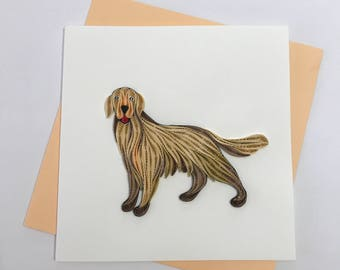 Golden Retriever, Dog Quilling Greeting Card, Quilling Cards, Birthday Cards, Greeting Cards, Handmade Greeting Card, Handmade Card