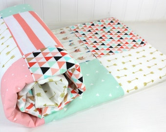 Nursery Decor, Baby Shower Gift, Baby Girl Blanket, Baby Bedding, Baby Quilt, Coral Pink Blush Mint Green Black Gold Arrow Tribal Boho