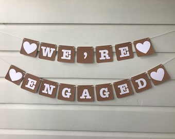 Engagement Party Decoration We're Engaged Bunting Banner Photo Booth Photography Prop Garland
