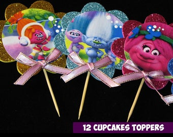 12 Trolls Cupcakes Toppers foam, Trolls party cupcakes Topper foam, Trolls toppers Party, 2 INCHES