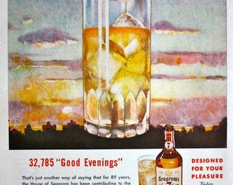 1946 ad Seagram's Seven 7 Crown Whiskey Glass Art Vintage Print Ad K105