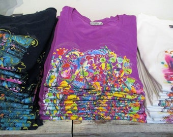 "Unique T-Shirt women purple with short sleeve  ""Der Stern"" - designed by Corinna Kirchhof"