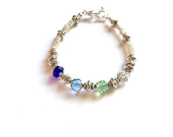 Mothers Birthstone Bracelet, Mothers Bracelet,  Birthstone Jewelry, Grandmothers Birthstone Bracelet, Crystal Birthstone Bracelet