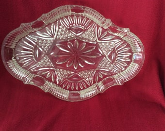 "Vintage Glass Dressing Table Tray 13""x9"""