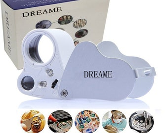 DREAME 30X 60X LED Lighted Illuminated Jewelers Eye Loupe Jewelry Magnifier for Gems Jewelry Rocks Stamps Coins Watches Hobbies