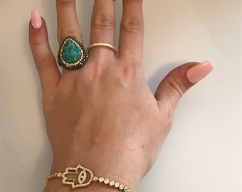 Druzy statement ring .925 sterling silver, turquoise with Swarovski crystal element